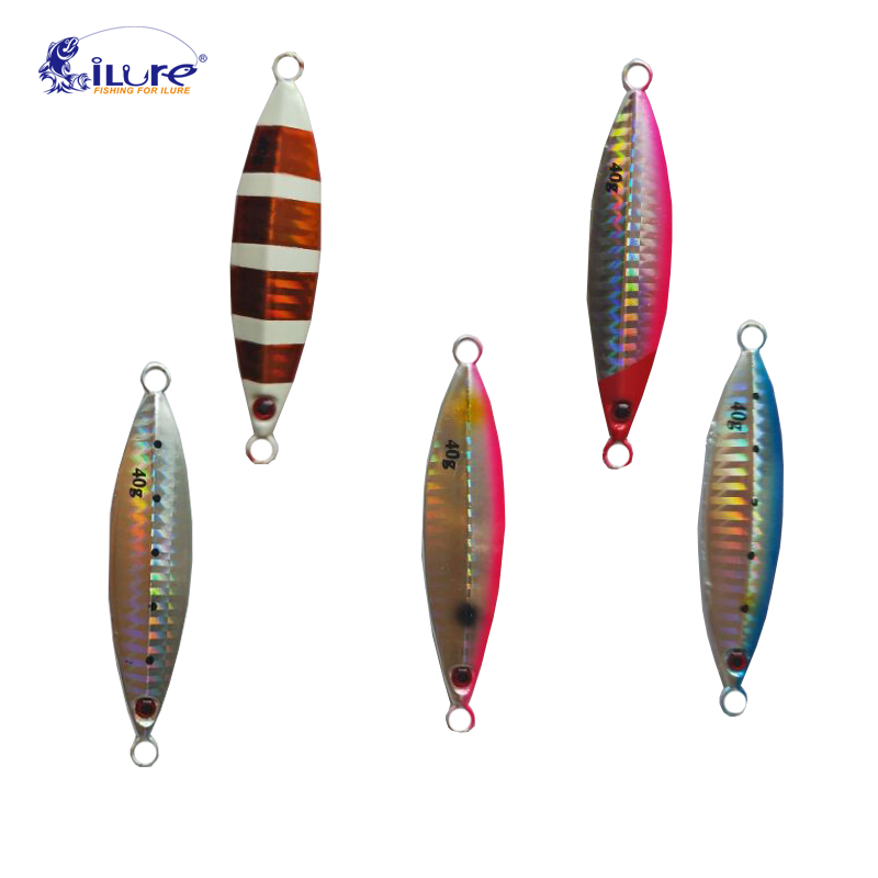 ilure Laser Body Back Luminous Metal Jig Lure Paillette Knife Artificial Hard Bait Sea Fishing Lure Pesca
