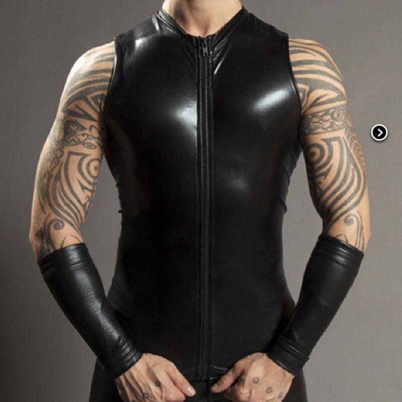 Sexy Men's Black Zipper Faux Leather Sleeveless PU Undershirt   Tank     Top   Vest Waistcoat Underwear Gay Male Undershirt