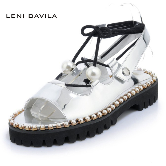 e2bcdca18ab1 LENI DAVILA 2017 Women s Fashion Ankle Strap silver sandals Low heels  handmade String Bead decoration shoes for women