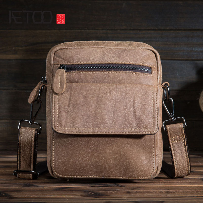 AETOO Leather men's first layer of frosted soft leather shoulder Messenger bag retro leather small square bag bag female new genuine leather handbags first layer of leather shoulder bag korean zipper small square bag mobile messenger bags