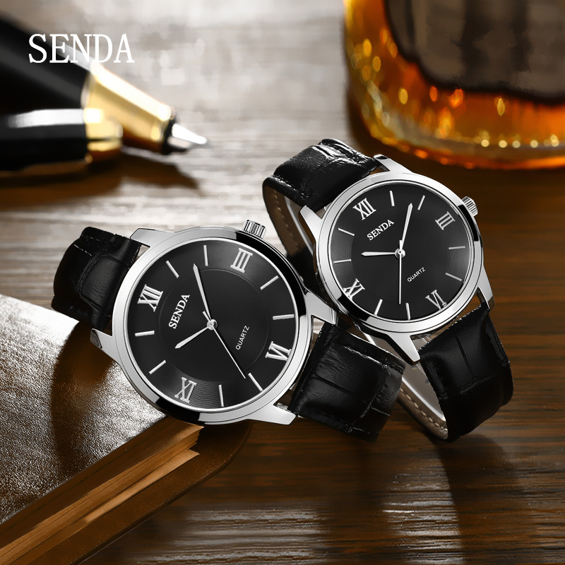 SENDA <font><b>Men</b></font> Women Business <font><b>Couple</b></font> Quartz <font><b>Watch</b></font> Reloj Waterproof <font><b>Men</b></font> <font><b>Watches</b></font> Leather Strap <font><b>Ladies</b></font> <font><b>Watch</b></font> Montre Dress Clock image