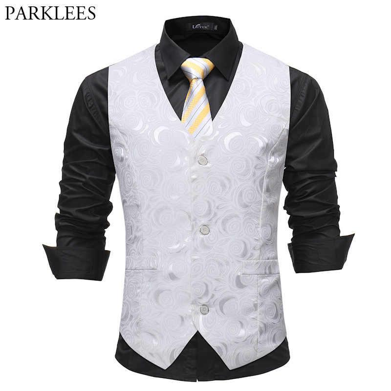 メンズ紳士シングルブレストスーツのベスト 2018 ファッションローズプリントのウェディングドレスベストタキシードチョッキビジネスマンのための