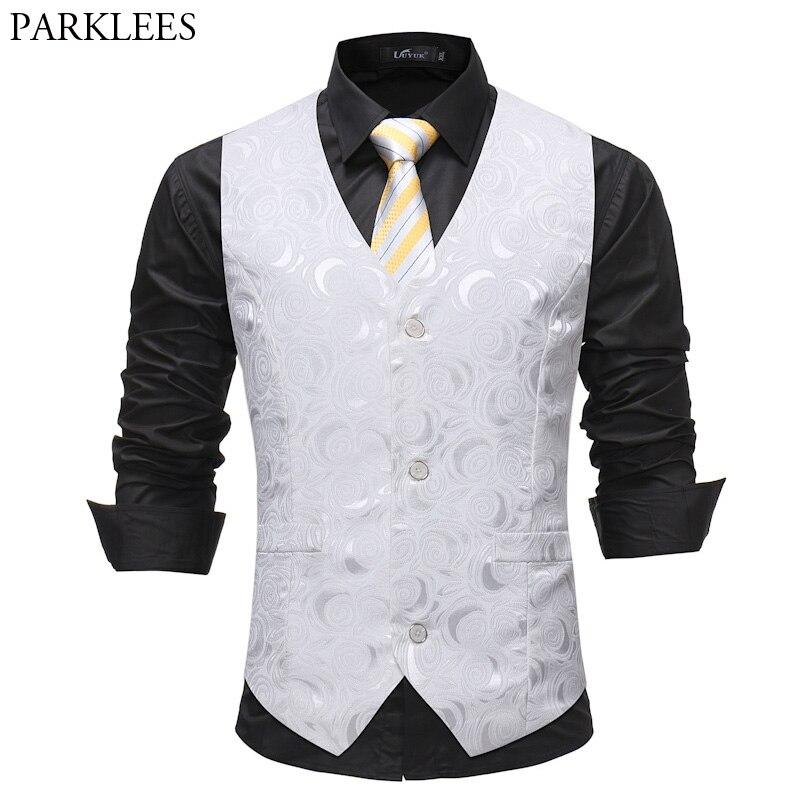 Mens Gentleman White Single Breasted Suit Vest 2018 Fashion Rose Printed Wedding Dress Vest Tuxedo Waistcoat For Business Man