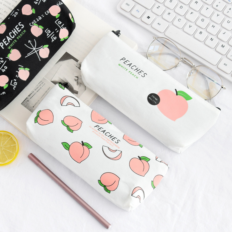1 Pcs Hot Sale New Canvas Peaches School Pencil Cases Stationery Pencilcase Kawaii Bag Girls Pencil Case For School