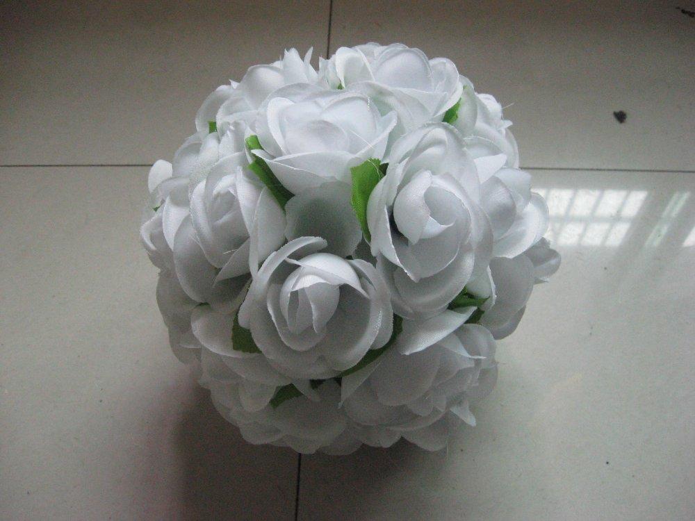 SPR 15cm prům. se zelenými listy, líbání květina míč, svatební dekorace, oslava květinová výzdoba, strana dekorace