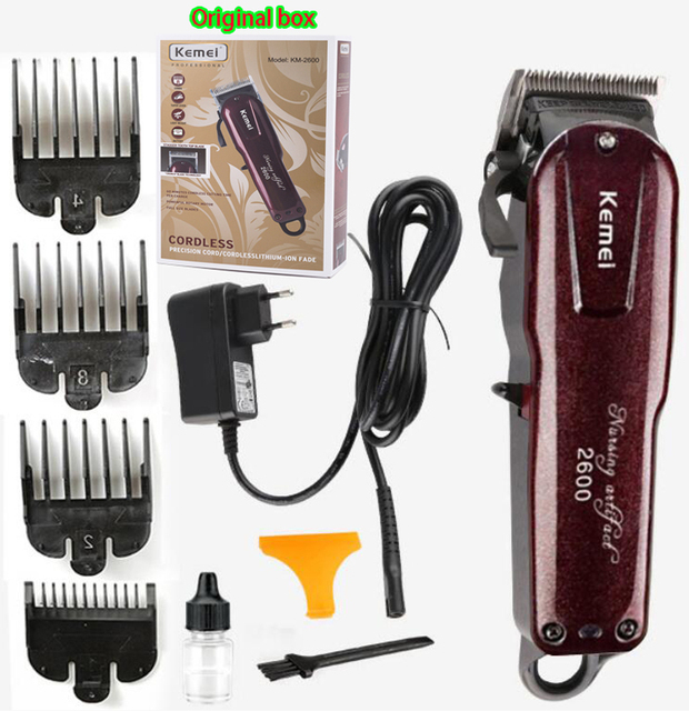 Professional Kemei Titanium Blade Corded Electric Haircut Cutting Machine Barber + limit comb for kids adult men 110 240V