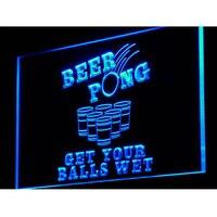 I939 Beer Pong Consigue Sus Bolas Wet Luz de Neón On/Off Interruptor 20 Colores 5 Tamaños