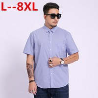 8XL 6XL 5XL 4XL 2018 New Summer short sleeve turndown collar non iron easy care plaid striped business men smart casual shirts