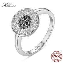 89a94abb0f95 Lucky Hamsa ojo redondo anillo esterlina 925 mujeres anillos buena suerte  negro ojos CZ tirabuzón plata para mujer joyería boda .