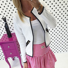 Fashion New Women Short Coat Jacket Long Sleeve Casual Tartan Cardigan White Black Zipper Pockets Slim Suit Outerwears Tops Y1