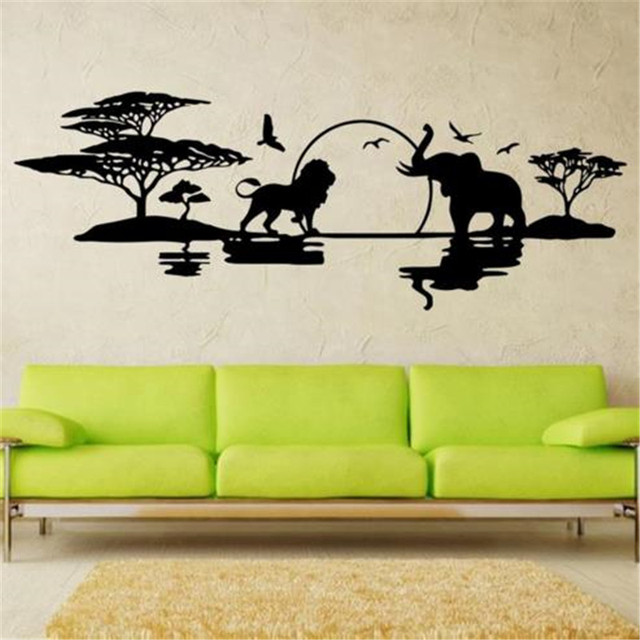 Art Design Savannah Skyline Home Decoration Vinyl Elephants Lions Birds Wall Sticker House Decor Landscapes Decal