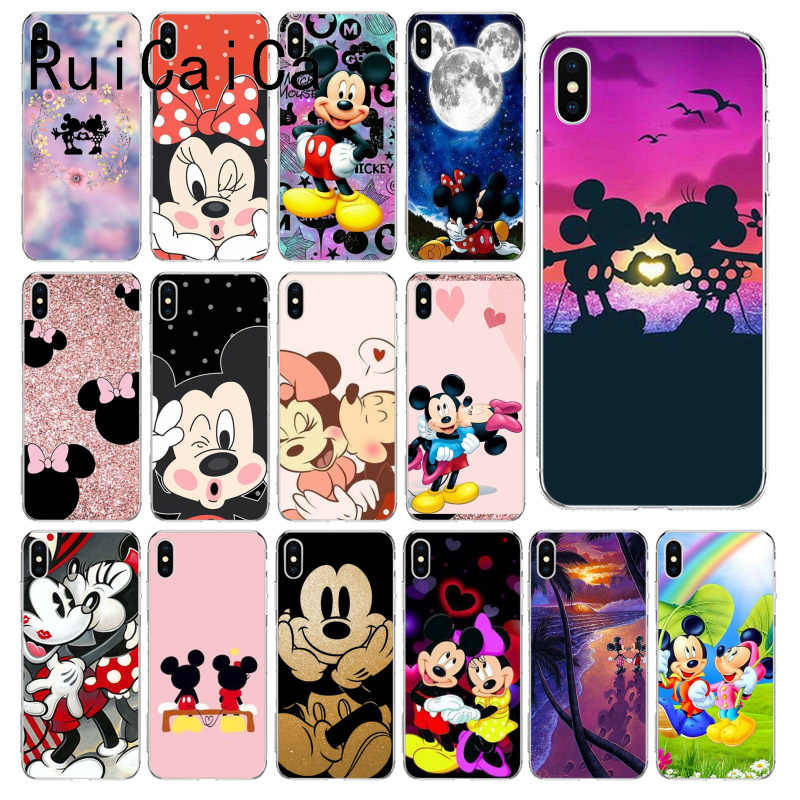 RuiCaiCa Kissing Mickey Minnie Mouse Cover Soft Shell Phone Case for iPhone 8 7 6 6S Plus X XS MAX 5 5S SE XR 10 Fundas Capa