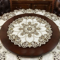High end luxury European style American pastoral cloth embroidered round table cloth table mat