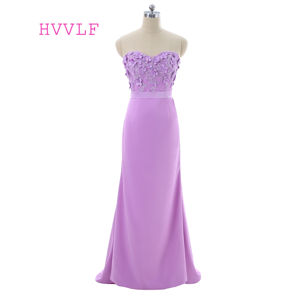 Lavender   Evening     Dresses   2019 Mermaid Sweetheart Floor Length Flowers Lace Beaded Women Long   Evening   Gown Prom   Dresses