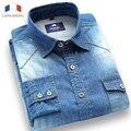 Langmeng 2015 новый 100% хлопок сплошной цвет длинным рукавом случайные рубашка slim fit джинсовые рубашки мужчин джинсы рубашки бренда платье рубашка