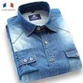 Langmeng 2015 new 100% cotton solid color long sleeve casual shirt slim fit denim shirts men jeans shirts brand dress shirt