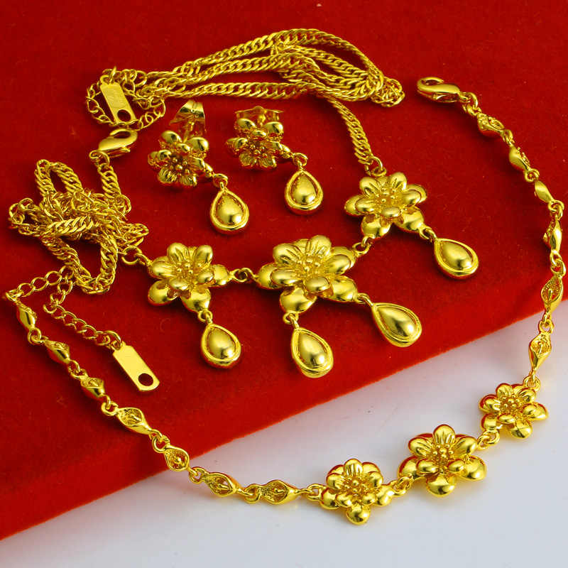 FREE SHIPPING 3 Pieces/set 24K Handmade in Hongkong Gold Shop Flowers & Water Drops Wedding Jewelry Set for Bride