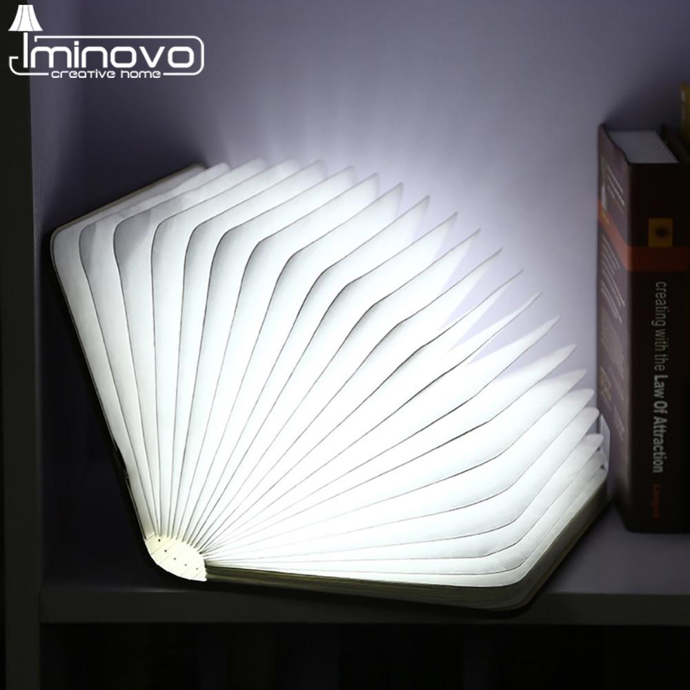 IMINOVO Creative USB Rechargeable LED Folding Desk Light Lamp For Home Bedroom Decor Desktop Nightlight gift For Friend Children creative flip book page led nightlight