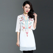 Mid-old large women's clothing 2017 spring and summer new embroidery chiffon dress  P7AB5840