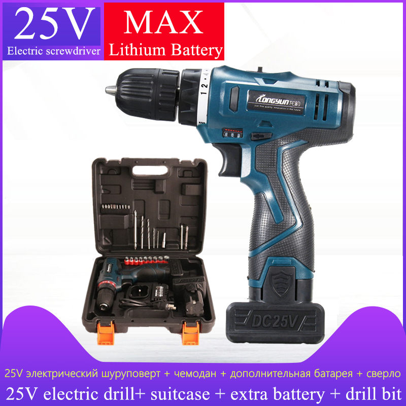 25V Lithium Battery 2 multifunctional Electric Screwdriver Charging Electric Drill bit Cordless Screwdriver suitcase Power Tools