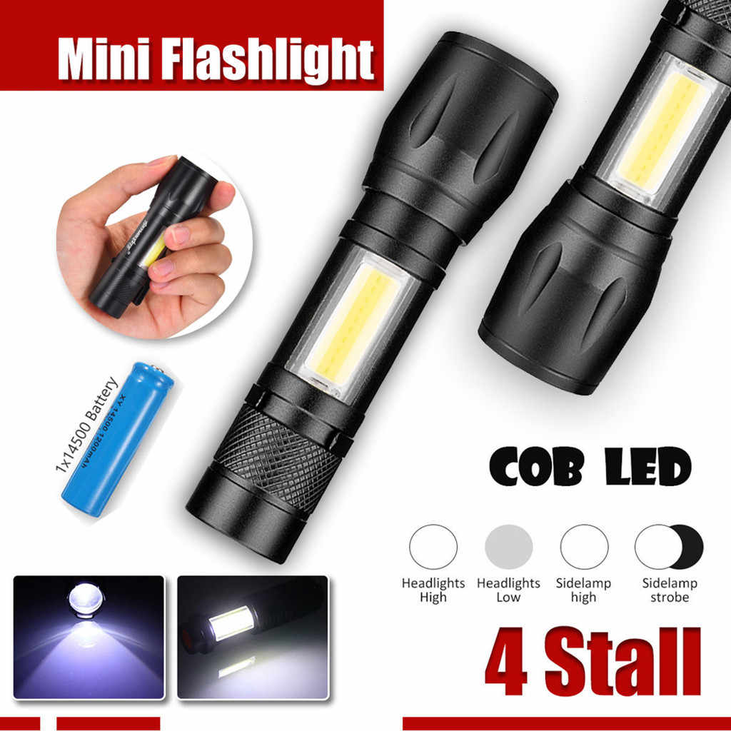 Mini T6 COB LED Taschenlampe USB Lampe Zoomable Penlight Licht 30000LM