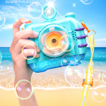 Mini Bubble Machine Fish Gun With Music Light Model Electric Fun Outdoor Shutter Camera Water Automatic Toys For Children