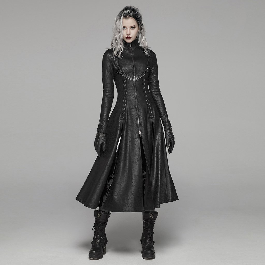PUNK RAVE Women Dark Punk Long Coat Retro Front Zipper Stand Collar Overcoat Punk Rock Stage Perform Women Long Trench Coat