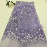 Madison 3d Lace Fabric 2018 High Quality Lace Embroidered Fabric With 3d Flowers 5Yards Bride Lace Matching Sequins+Feather