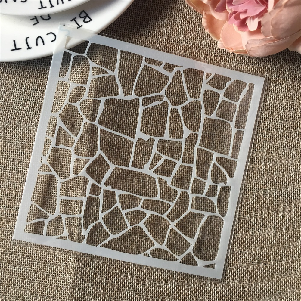 Hot 13cm Geometry Grid DIY Craft Layering Stencils Wall Painting Scrapbooking Stamping Embossing Album Card Template