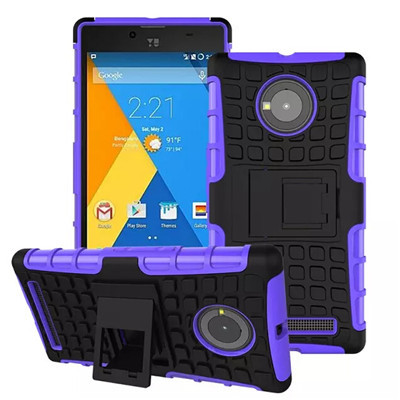 Defender Hybird Rugged antiskid heavy duty shockproof protective case with stand For Micromax Yu Yuphoria