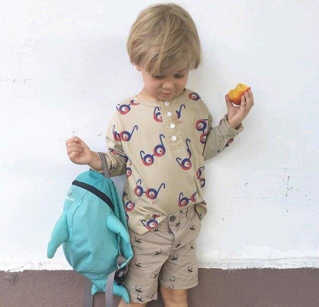 Бобо выбирает * 2016 мужская baby дети хлопок Футболки с длинным рукавом очки pattern О-Образным Вырезом удобная мода 1-6Y бесплатная доставка