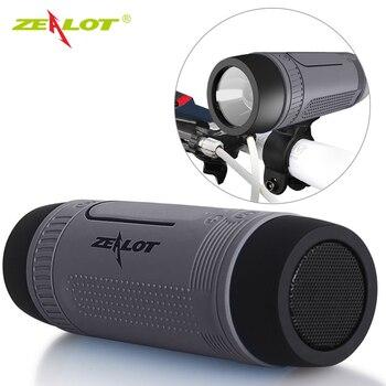 Zélot Bluetooth 4.0 haut-parleur avec lampe de poche LED pour Sport + vélo montage extérieur Portable Subwoofer haut-parleurs de vélo + batterie externe