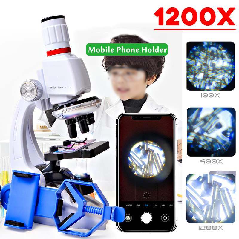 Mini 100X 400X 1200X Children Microscope Set With Mobile Phone Holder Student Science Education Lab Research Toys Gift