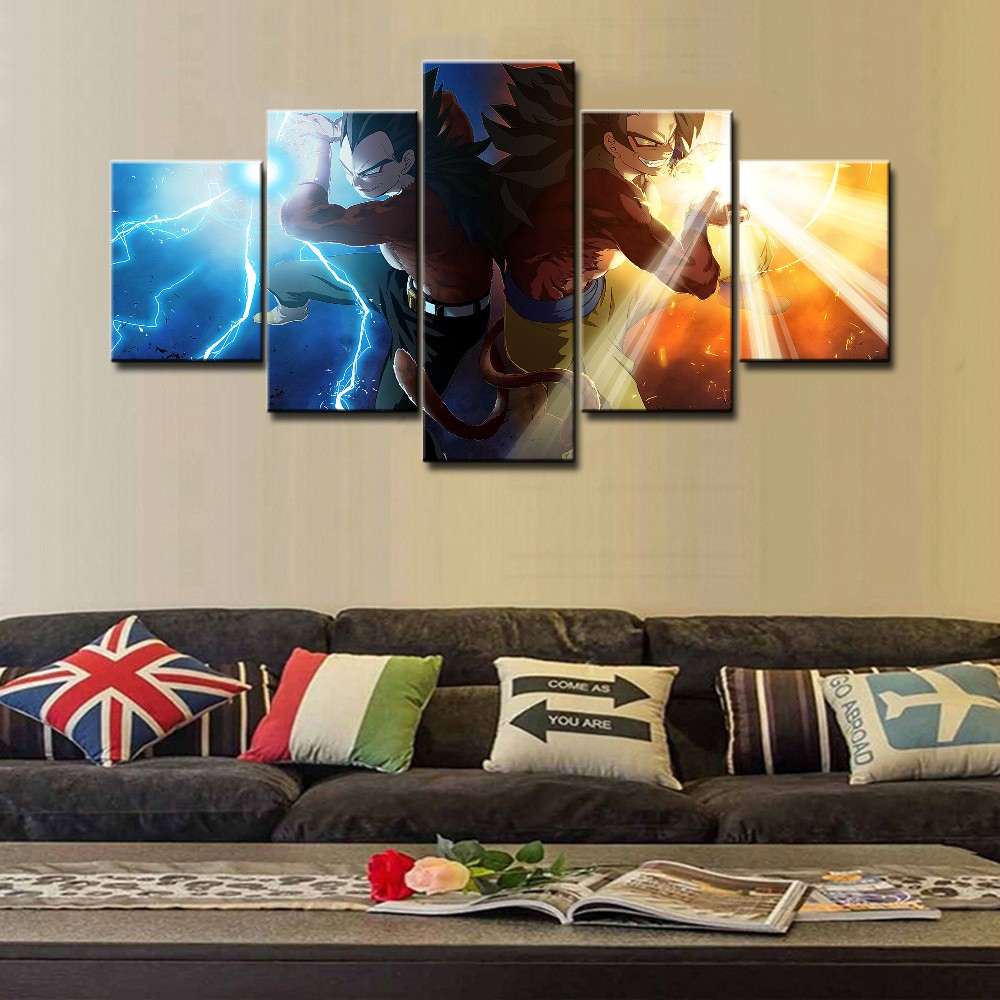 Unframed de alta calidad 5 unidades pinturas de pared DBZ Super ...