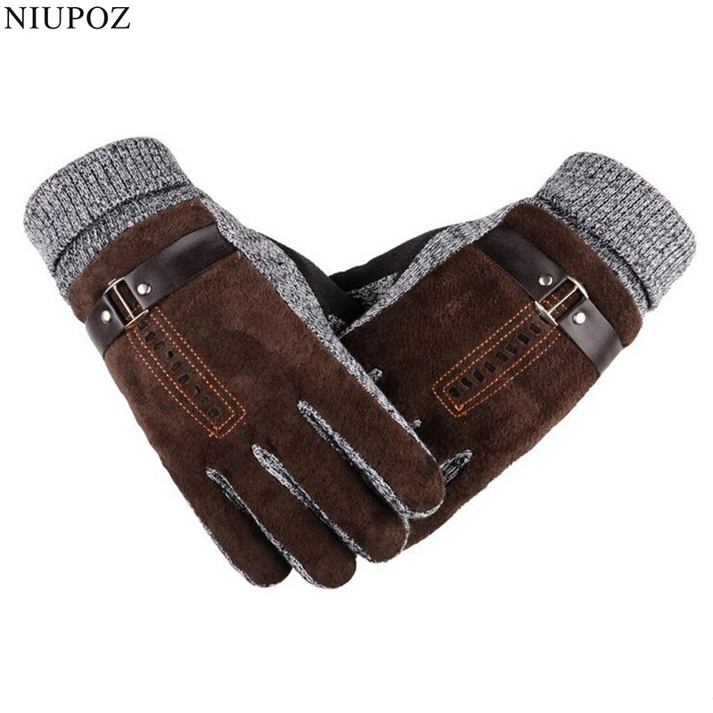 High Quality Pigskin Knitted Wool Gloves Winter Thicken Fleece Warm Men's Big Size Genuine Leather Moto Gloves Male Mittens G124