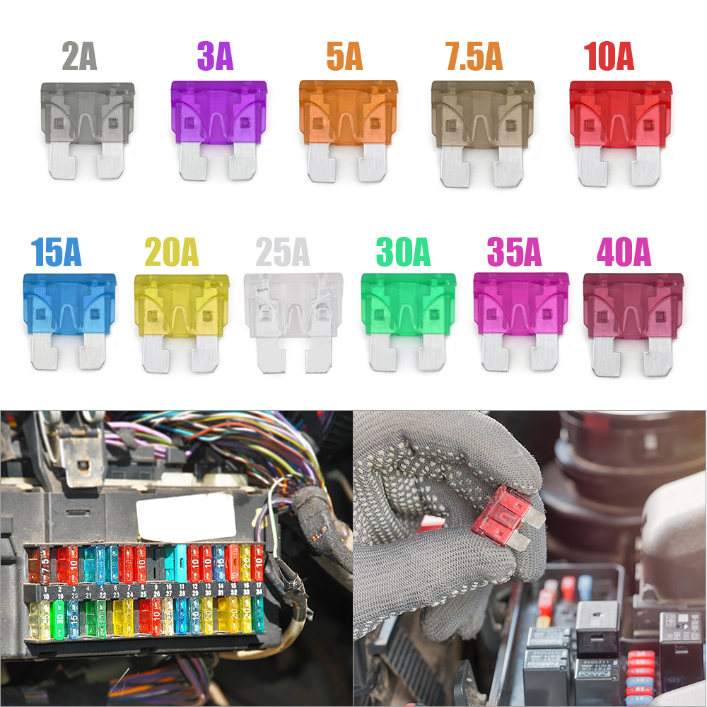 130PCS 2A-40A Replacement Fuses Kit Automotive Standard Medium Auto Holder Car ATO Plug-in Blade Fuse Assortment Boat Truck