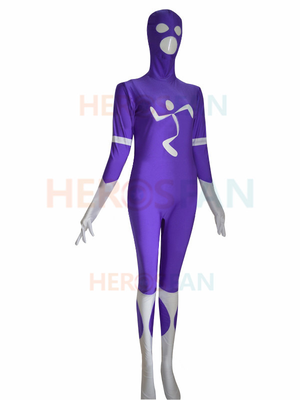 Purple Custom Superhero Costume Cosplay Halloween party Suit free shipping
