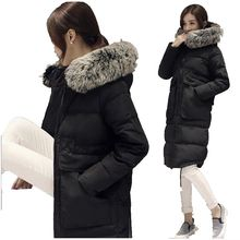 New 2016 Han Edition High-end Down Jacket Temperament Hooded Collars Keep Warm Thicken Long Show Thin Big yards Women Coat G0975