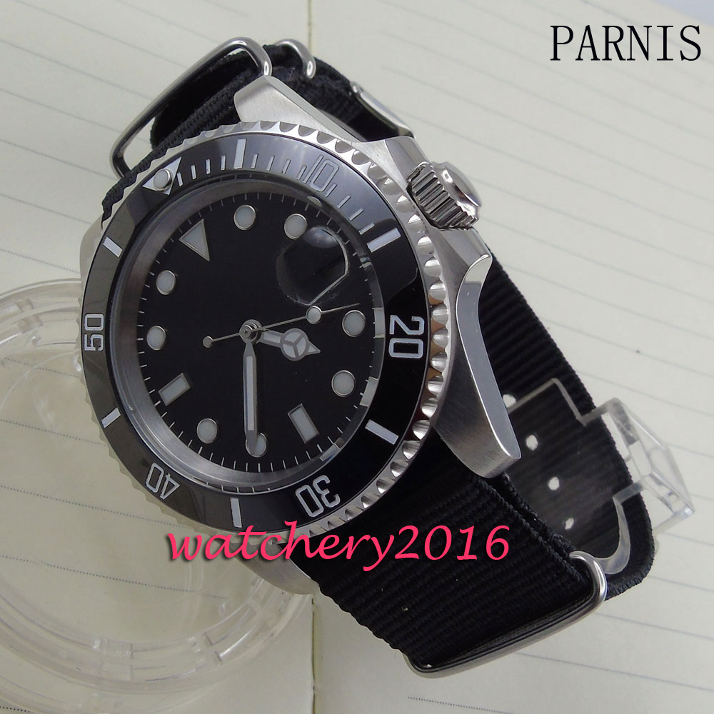 new 40mm Parnis black dial luminous markers black ceramic bezel white number Automatic movement Men's business Watch 40mm parnis white dial vintage automatic movement mens watch p25
