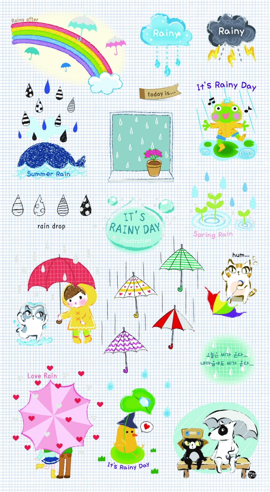 ④DIY colorido día lluvioso 3D kawaii Adhesivos diario planificador ...