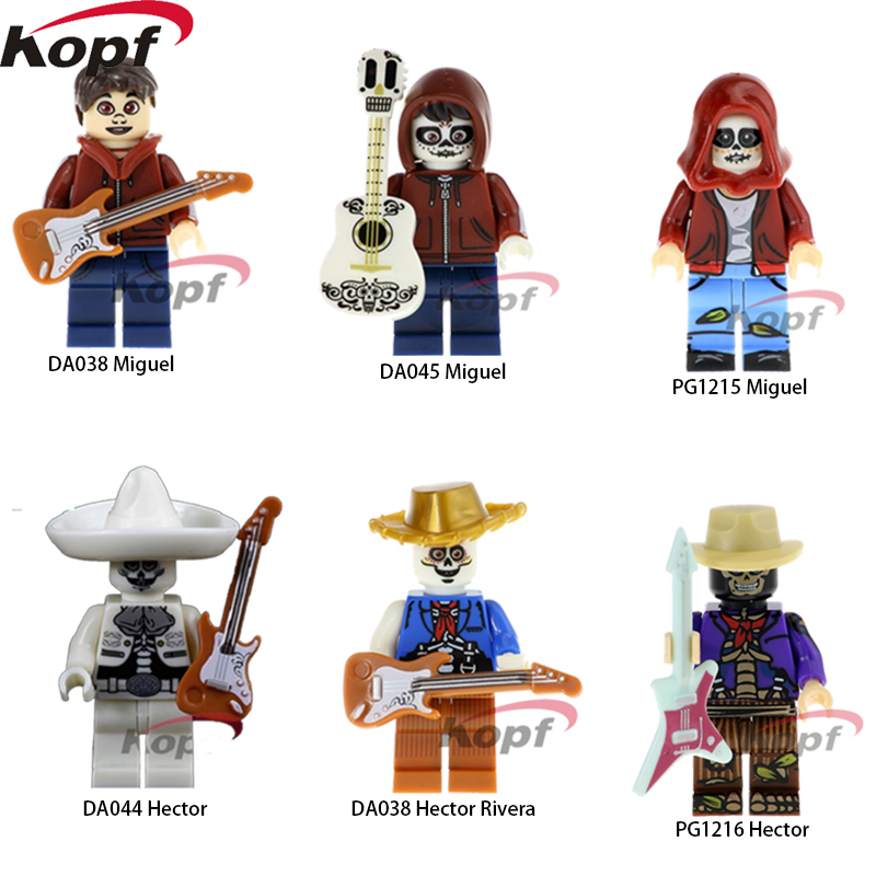 Single Sale Super Heroes Rivera Miguel Movie Coco Day of the Dead Holiday Hector Bricks Model Building Blocks Children Toys Gift single sale super heroes red yellow deadpool duck the bride terminator indiana jones building blocks children gift toys kf928