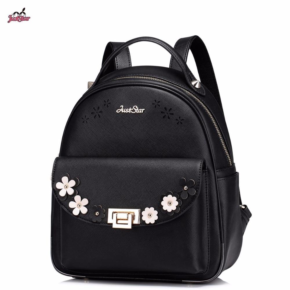 ФОТО Just Star Brand Design Appliques Hollow Flowers Lock PU Women Leather Ladies Girl Backpack Shoulders School Travel Bags