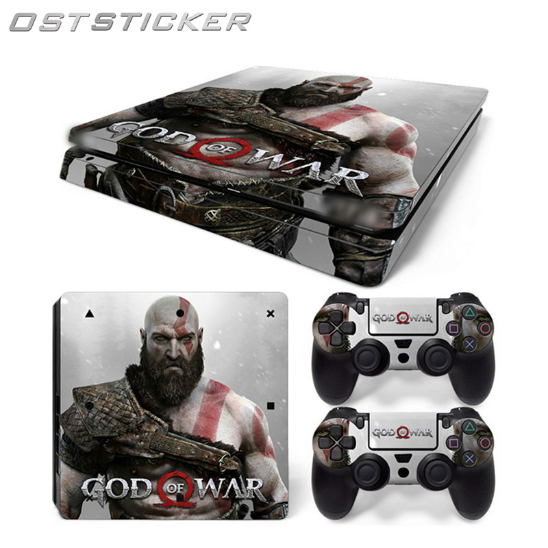 OSTSTICKER Popular Design Cover For Sony PS4 Slim Console Games Decal Cover + 2Pcs Controller Protective Skin Sticker