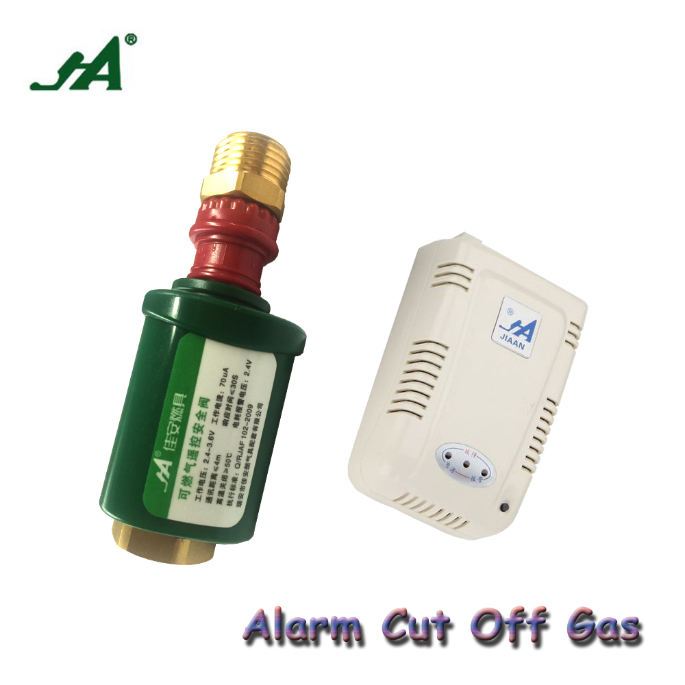 Alarm Systems Security  JA 8302  Gas Leak Valve Wireless Thermal Leak Detector Alarm Set household  Hardware solenoid valve