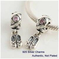 Ballet Chaussures Pendentif 925 Sterling Argent Charmes avec Rose Cz DIY Bijoux Fit Charm Bracelets Bijoux PW082