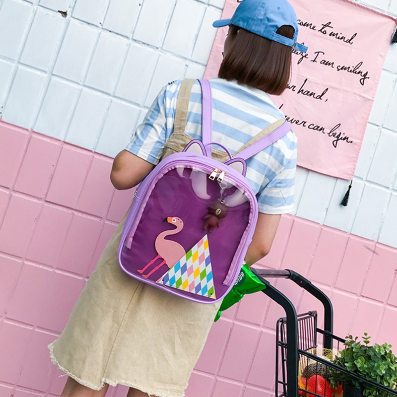 все цены на 2018 new Women Girl Backpack Cute Ear 1029A Transparent Rucksack Travel Shoulder School Bag