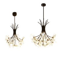 Lustre de cristal moderno romântico dandelion flor led deco luz para sala estar quarto lustre pa0452