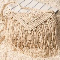 New Fashion Bohemian Tassel Beach Bag Women Crochet Fringed Crossbody Bag Ultralight Shoulder Bag Hollow Out
