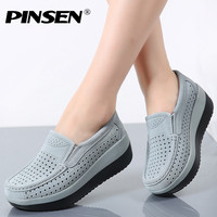 PINSEN 2017 Spring Women Flat Platform Loafers Shoes Ladies Suede Leather Hollow Casual Shoes Slip On
