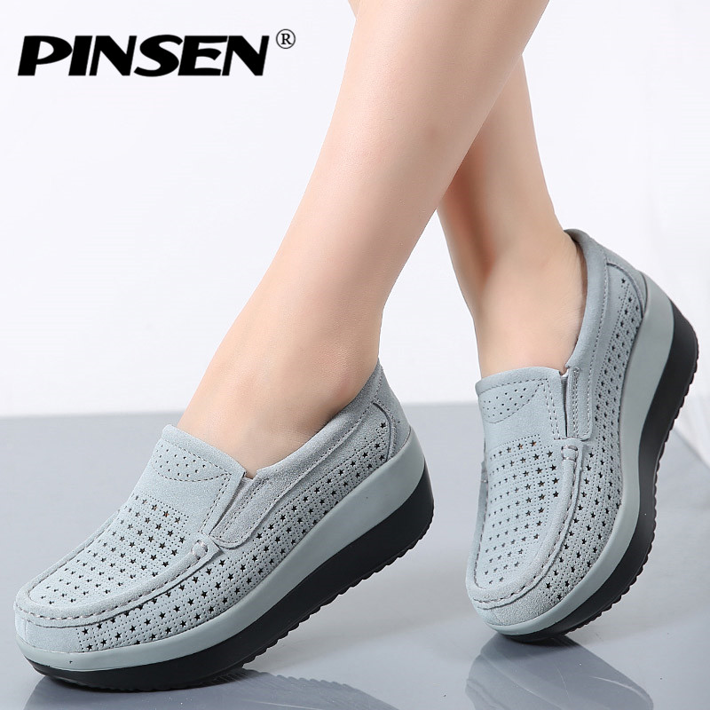 PINSEN 2019 Autumn Women Flat Platform Loafers Shoes Ladies Suede Leather Hollow Casual Shoes Slip on Flats Moccasins creepers